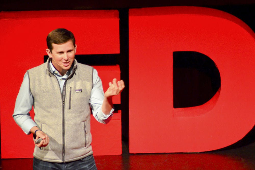 """<p>Mac Stone, a local conservation photographer, speaks about preserving the Everglades on the Philips Center for the Performing Arts stage during a TEDxUF conference. His talk, """"Everglades: America's Wetland,"""" will be featured on TED.com.</p>"""