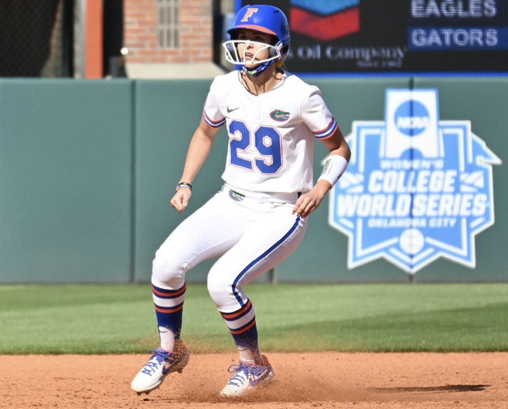<p>Outfielder Katie Kissler rounds second base Feb. 20 against Charlotte. </p>