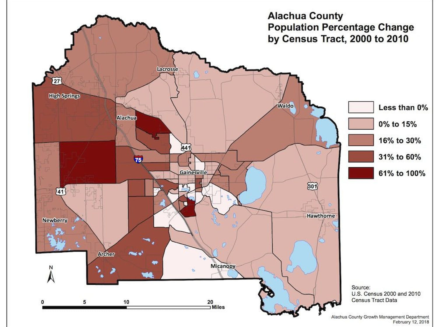 A map of population changes in Alachua County. Courtesy to The Alligator.