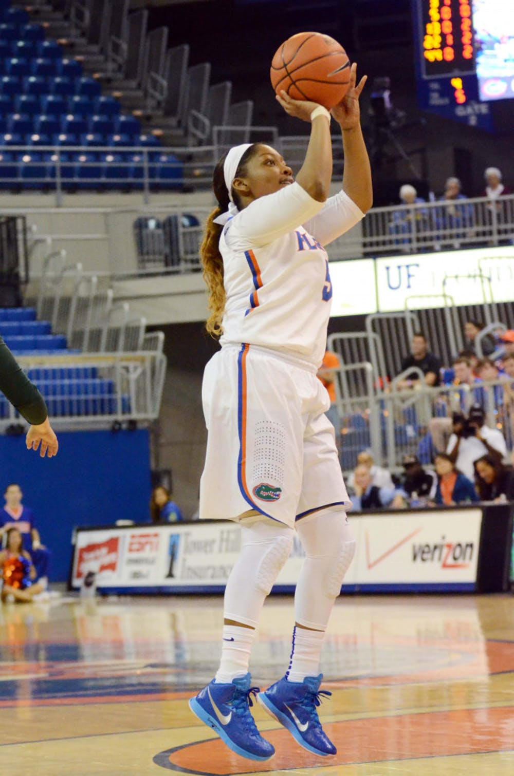<p>Antoinette Bannister attempts a jump shot during Florida's season-opening win against Jacksonville.</p>