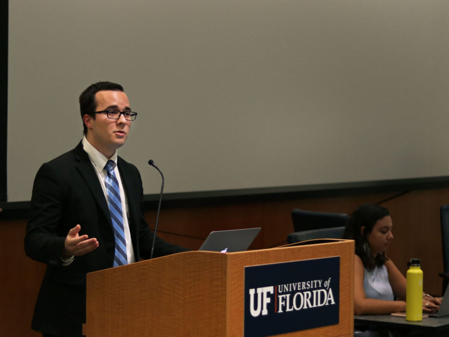 Ben Lima, a 21-year-old political science senior and Inspire Party senator-elect for District D, speaks out against the use of student activities and service fees funds to host Donald Trump Jr. and Kimberly Guilfoyle as Accent speakers at a Student Government meeting Tuesday night.