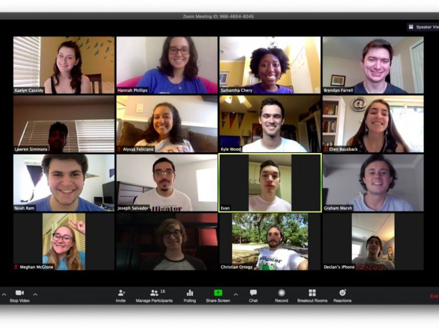 Alligator staff from the Spring 2020 semester pose for a photo during a Zoom meeting. The incoming Summer 2020 staff reports remotely and communicates using the video conferencing service.