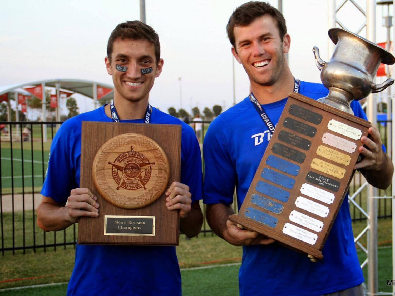 Kurt Gibson (left) and Brodie Smith (right) are both UF alumni. They met on the UF Ultimate Frisbee team, and have been on CBS show The Amazing Race. Gibson said this photo was when they won the USA Ultimate Club Championship with Denver's Johnny Bravo in 2014.