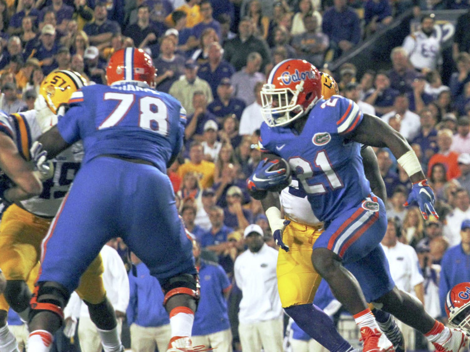 UF running back Kelvin Taylor carries the ball on Oct. 17, 2015, against LSU.