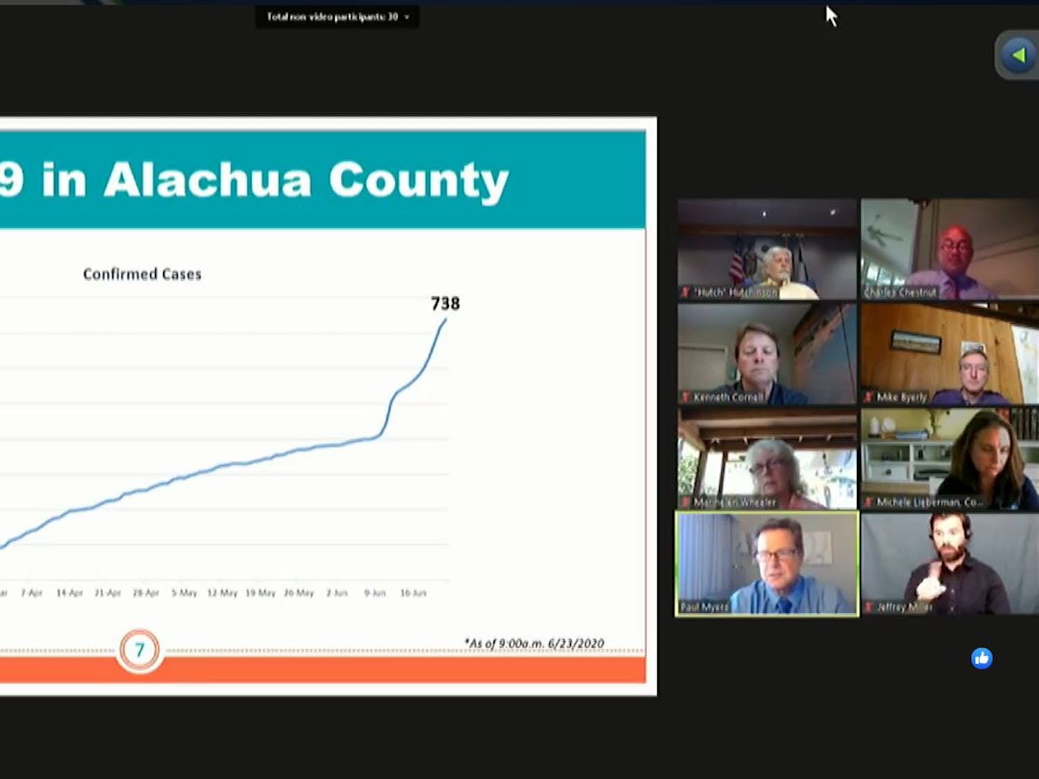 Paul Myers, an administrator for the county health department, highlights the increase in COVID-19 cases the past two weeks.