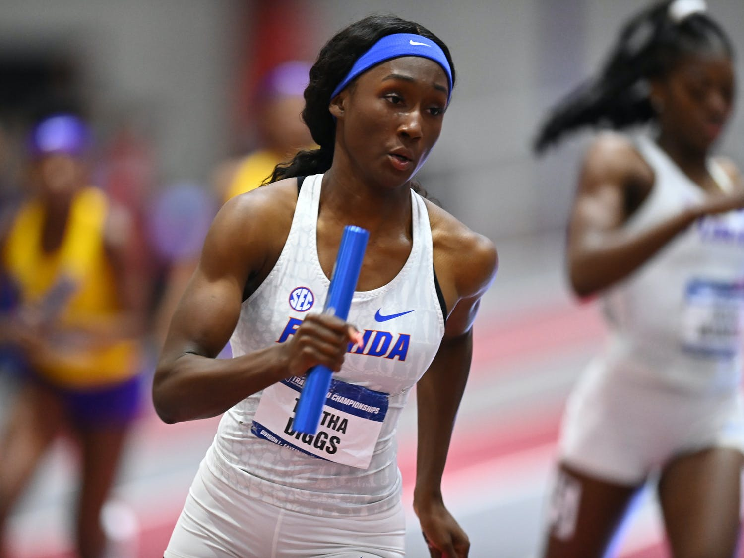 Florida's Talitha Diggs runs during the third day at the NCAA Indoor Championships on Saturday, March 13, 2021 at Randal Tyson Track Center in Fayetteville, Ark. / UAA Communications photo by NCAA Images