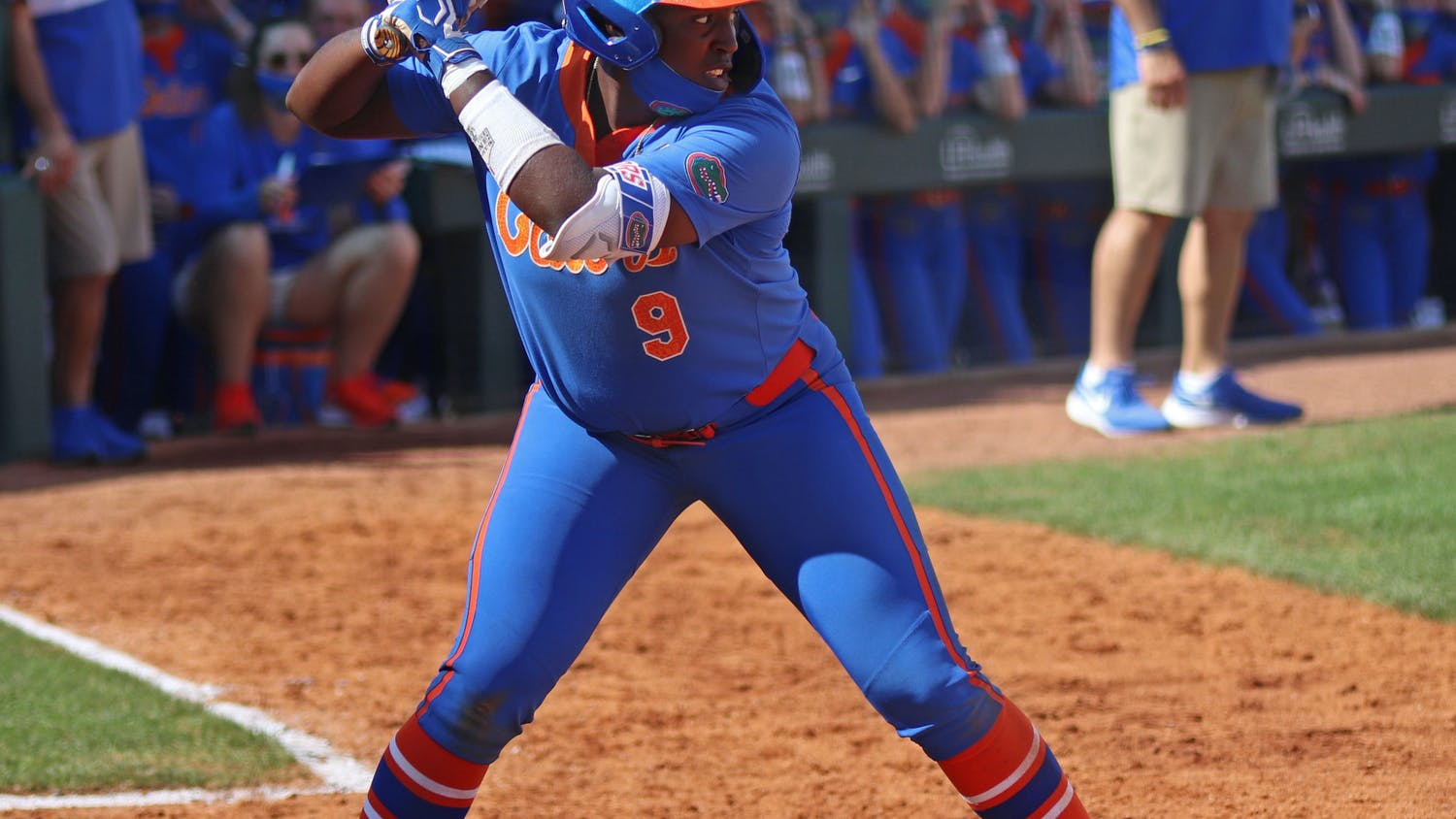 Florida's Jaimie Hoover stands in the batter's box against Louisville February 27. Hoover drove home the winning run over Missouri Friday to advance the Gators to the SEC Tournament final.