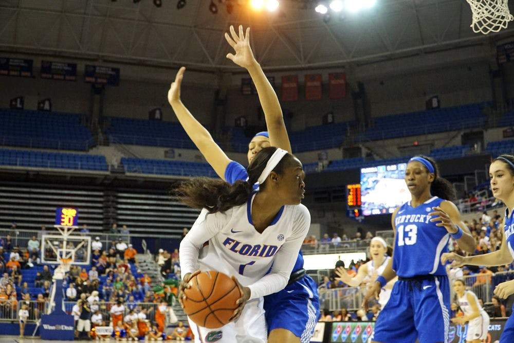 <p>Florida's Ronni Williams looks to pass during UF's 85-79 win over Kentucky on Jan. 31, 2016, in the O'Connell Center.</p>