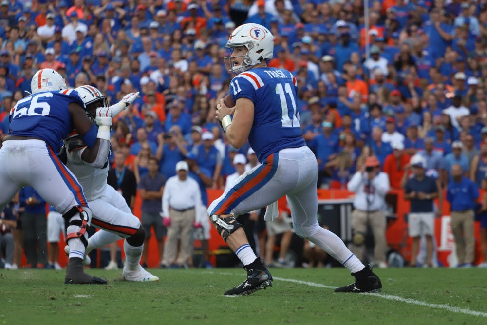 <p>Kyle Trask drops back to pass and scans the field during the Gators' 24-13 win over Auburn last season. Florida's 10-game, conference-only schedule begins on Sept. 26 against Ole Miss.</p>