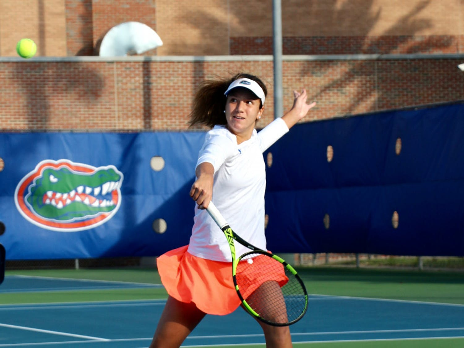 Senior Anna Danilina picked up a victory in singles play on Saturday, but it wasn't enough, as the Gators fell to Florida State 4-3.
