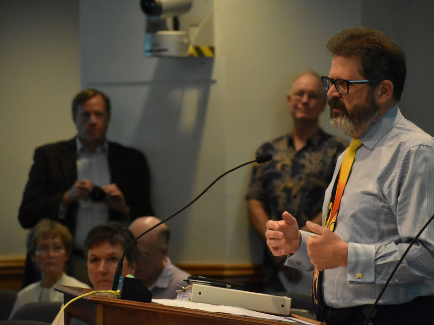 Edward Bielarski Jr., the general manager of GRU, speaks at a city commission meeting Thursday about a possible partnership between GRU and Florida Power & Light.