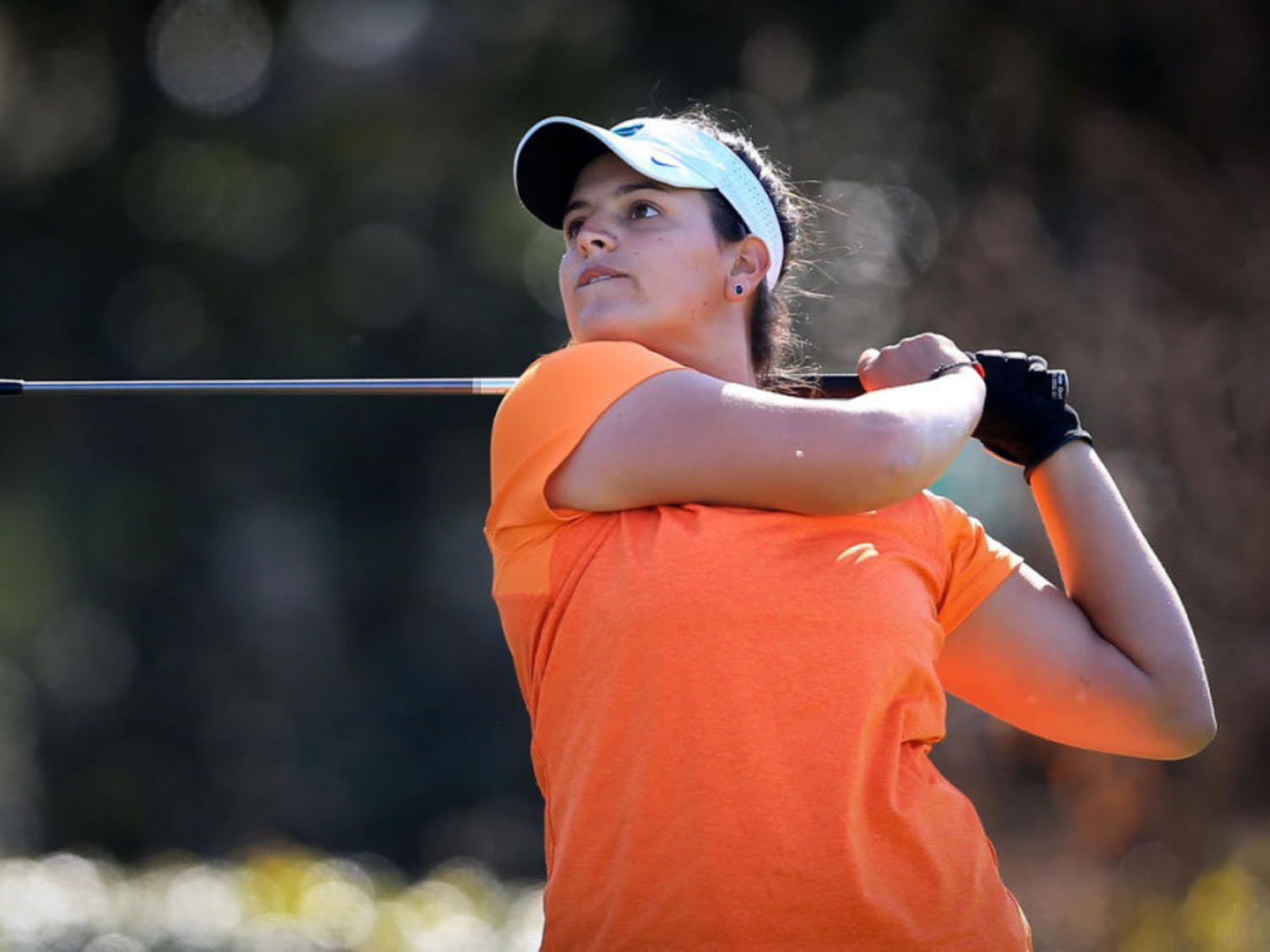 Maria Torres watches her shot during the SunTrust Gator Invitational on March 11, 2017, at the Mark Bostick Golf Course in Gainesville.