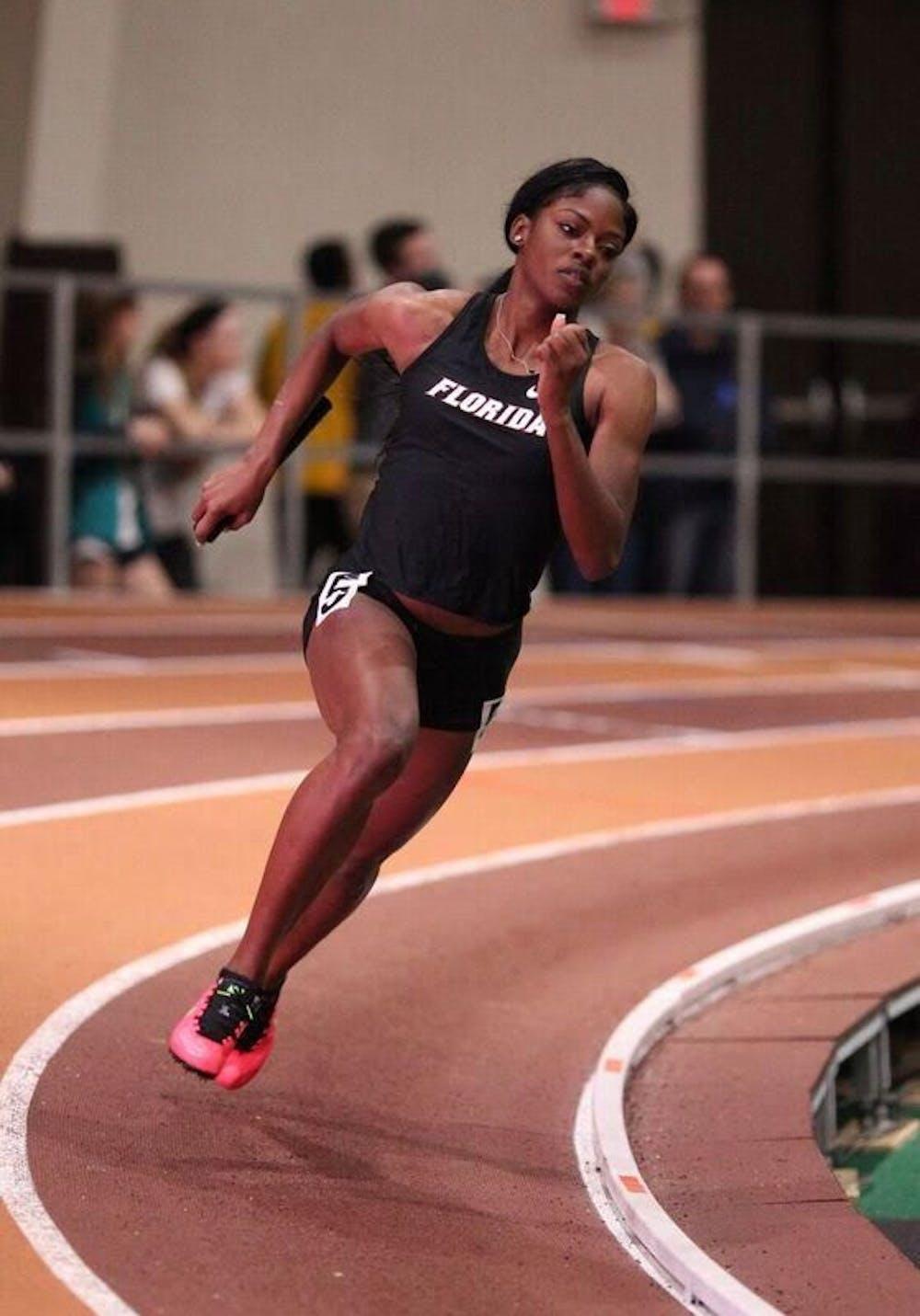 <p>UF sprinter Sharrika Barnett sprints at the Hokie Invitational on Jan. 21, 2017, in Blacksburg, Virgina.&nbsp;</p>