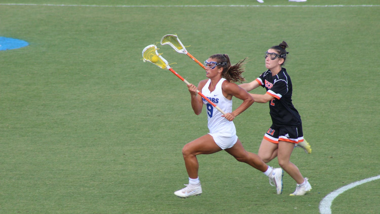 Florida's Emily Heller sprints down the field Friday against Mercer. Florida defeated the Bears 23-5 to move to the second round of the 2021 NCAA Women's Lacrosse Tournament.