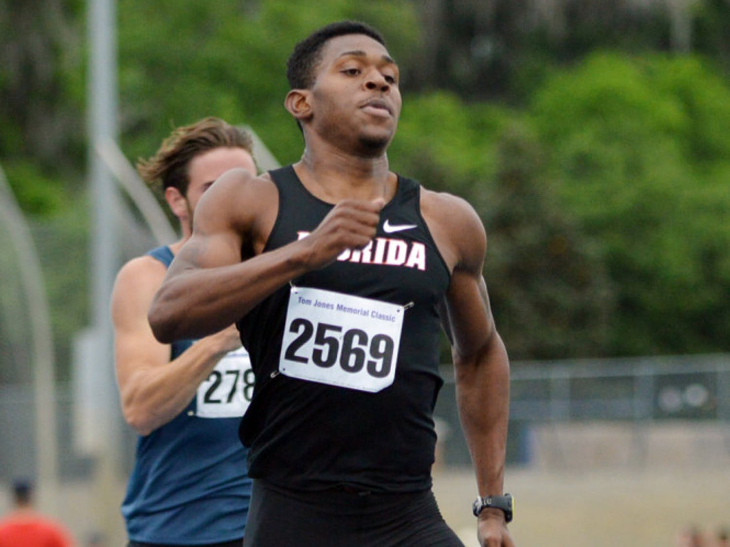Dedric Dukes races in the 400-meter dash at the Tom Jones Memorial on April 19 at the Percy Beard Track. Dukes set personal-best marks in every event he competed in during the 2014 season and help break the school's 4x400-meter relay record.