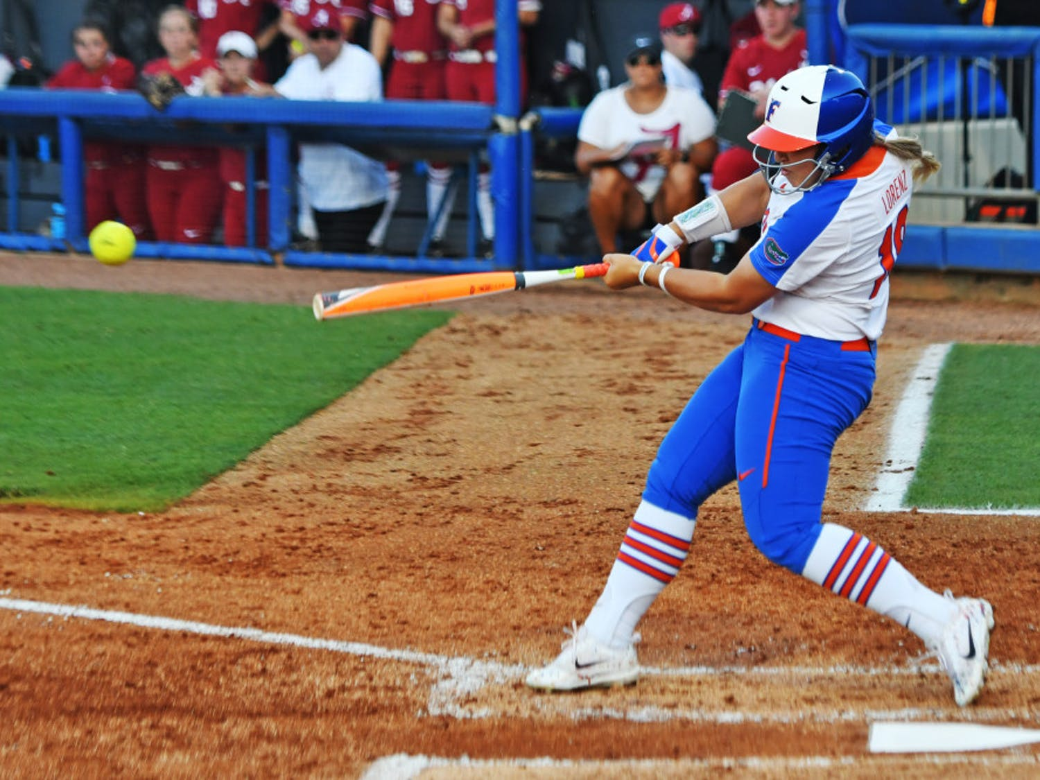 Amanda Lorenz swings during Florida's 3-0 loss against Alabama in game one of the NCAA Super Regional on May 25, 2017, at Katie Seashole Pressly Stadium.