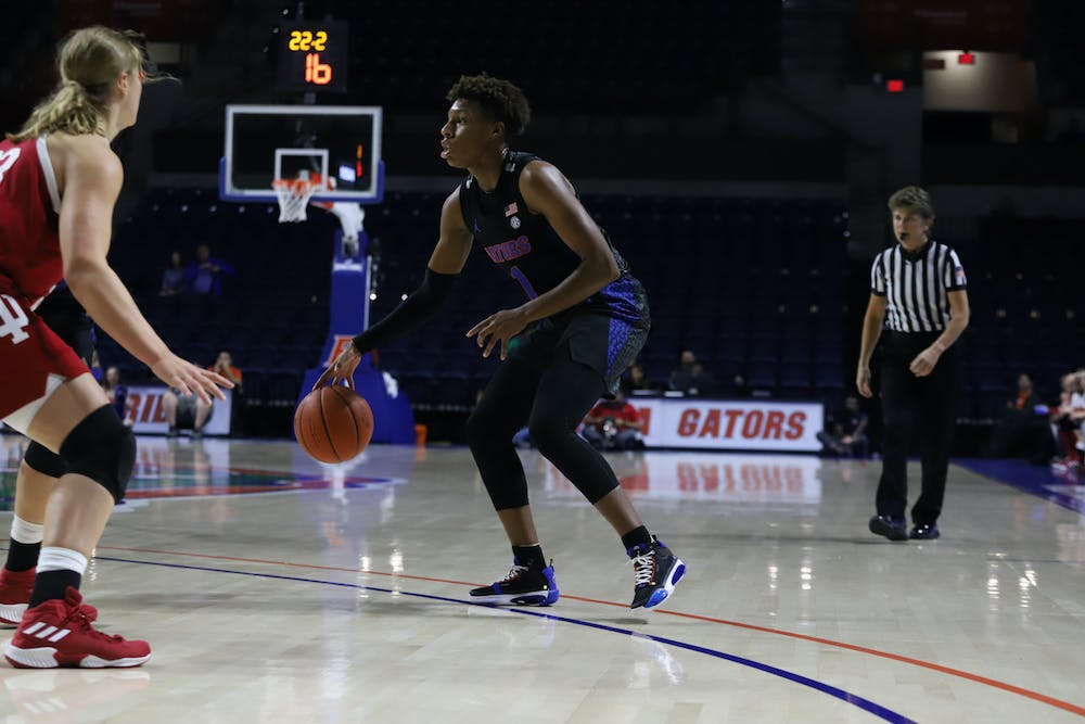 Florida guard Kiara Smith entered the game against UNF as UF's leading scorer, but only managed 11 points. Photo from UF-Indiana game in November 2019.