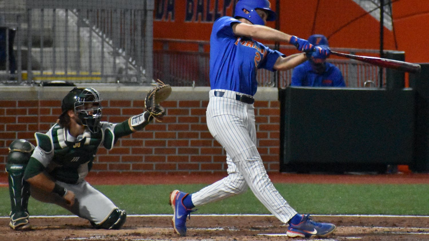 Florida's Sterlin Thompson swings against Jacksonville on March 13. Thompson tallied three hits and an eighth-inning RBI in Florida's 7-2 victory over Alabama in the conference tournament Thursday.