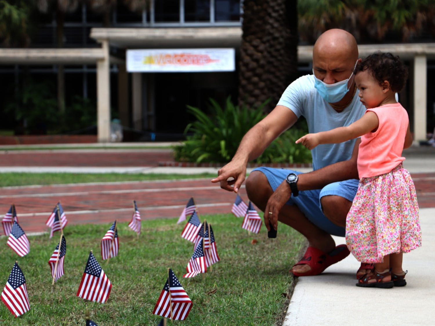 2,977 flags, a flag for each victim of the 9/11 attacks, were placed at Plaza of the Americas on September 11, 2020. The UF organization, Young Americans For Freedom placed them on Thursday night.