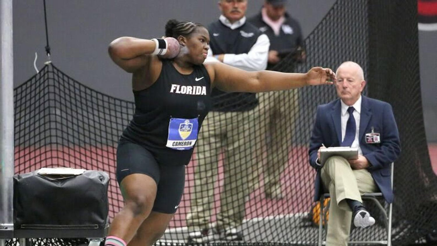 UF thrower Lloydricia Cameron throws the shot put during the 2016 SEC Indoor Track and Field Championships.