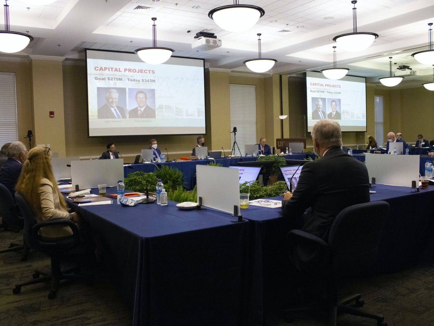 The UF Board of Trustees discusses capital projects inside the Emerson Alumni Hall on Thursday, March 18, 2021.