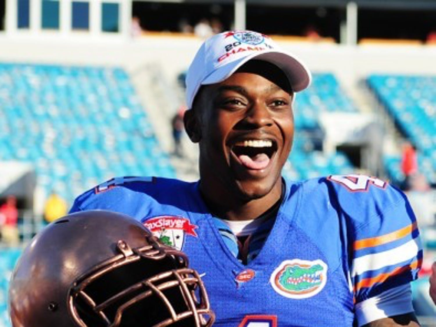 Junior wide receiver Andre Debose smiles as he accepts the trophy for Most Valuable Player at the Gator Bowl on Jan. 2.in Jacksonville. Debose hasn't replicated the success he had in 2011.