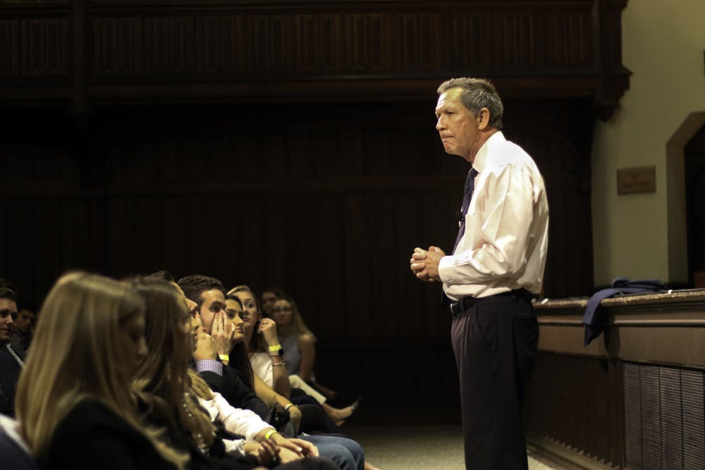 """<p dir=""""ltr""""><span>John Kasich, former governor of Ohio and presidential candidate, speaks to around 800 people Wednesday in the University Auditorium at UF. Kasich spoke about lessons that he had learned throughout his life and encouraged students in the audience to try and impact the world in any way they can. """"Search for possibilities,"""" he said. """"Don't close your minds to what you can do."""" After the speech, he took questions from the audience.</span></p><p><span></span></p>"""