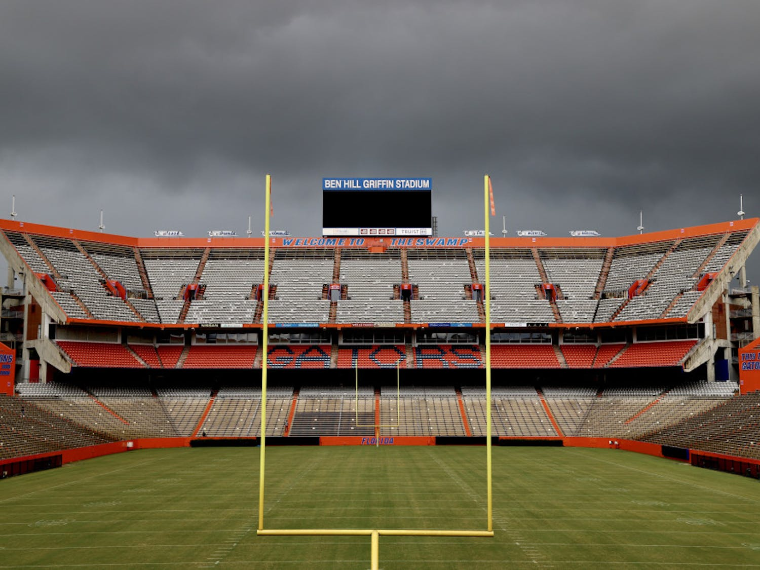 An empty Ben Hill Griffin Stadium under an overcast sky. City Commissioner David Arreola wrote the UF Board of Trustees Monday, urging them to not allow fans at this year's home football games.