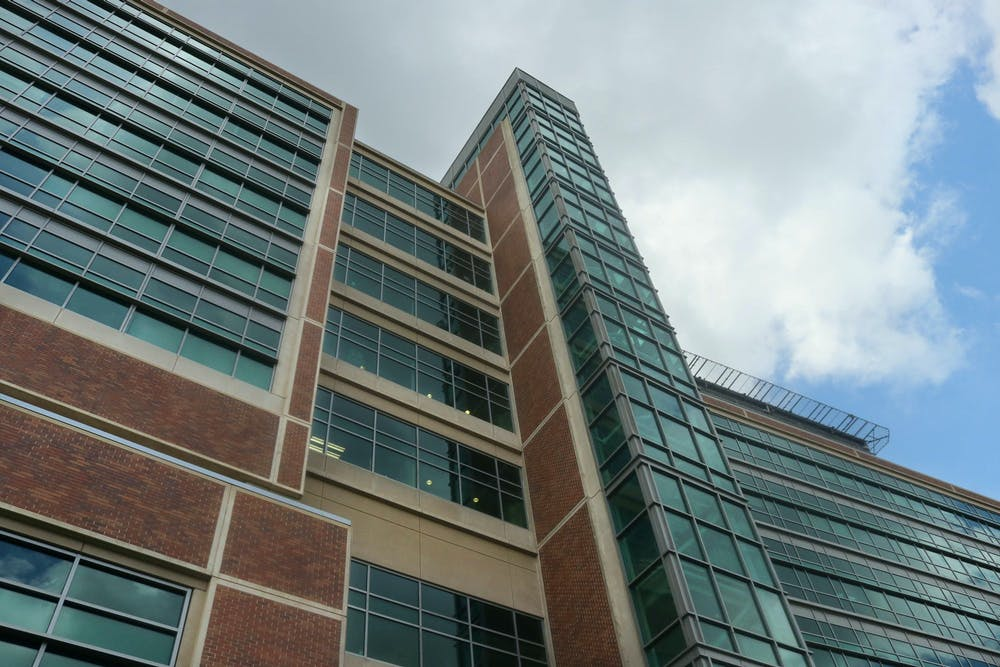 <p>The UF Health Shands Hospital building in Gainesville, as seen on June 29, 2021, hosts over 1,100 licensed beds and services over 120,000 emergency room visits annually, according to UF Health.</p>