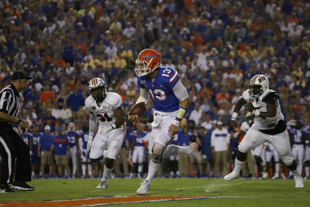 <p>Then-UF quarterback Feleipe Franks at the Gators' game versus UT Martin last season. Franks will make his return to The Swamp Nov. 14 in a Razorbacks uniform.</p>