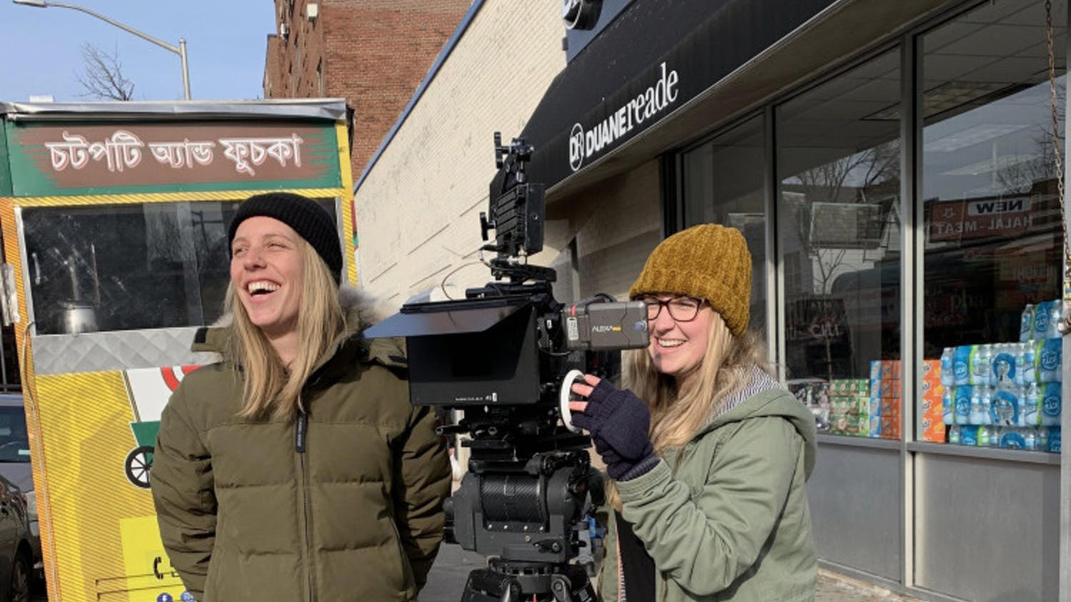 """Chloe Weaver (left) and Amanda Deery (right) on the set of """"American.ish"""". The livestream with Weaver marks the first in the College of Journalism and Communication's new series, """"Great Storytellers: Women and the Art of Film."""""""