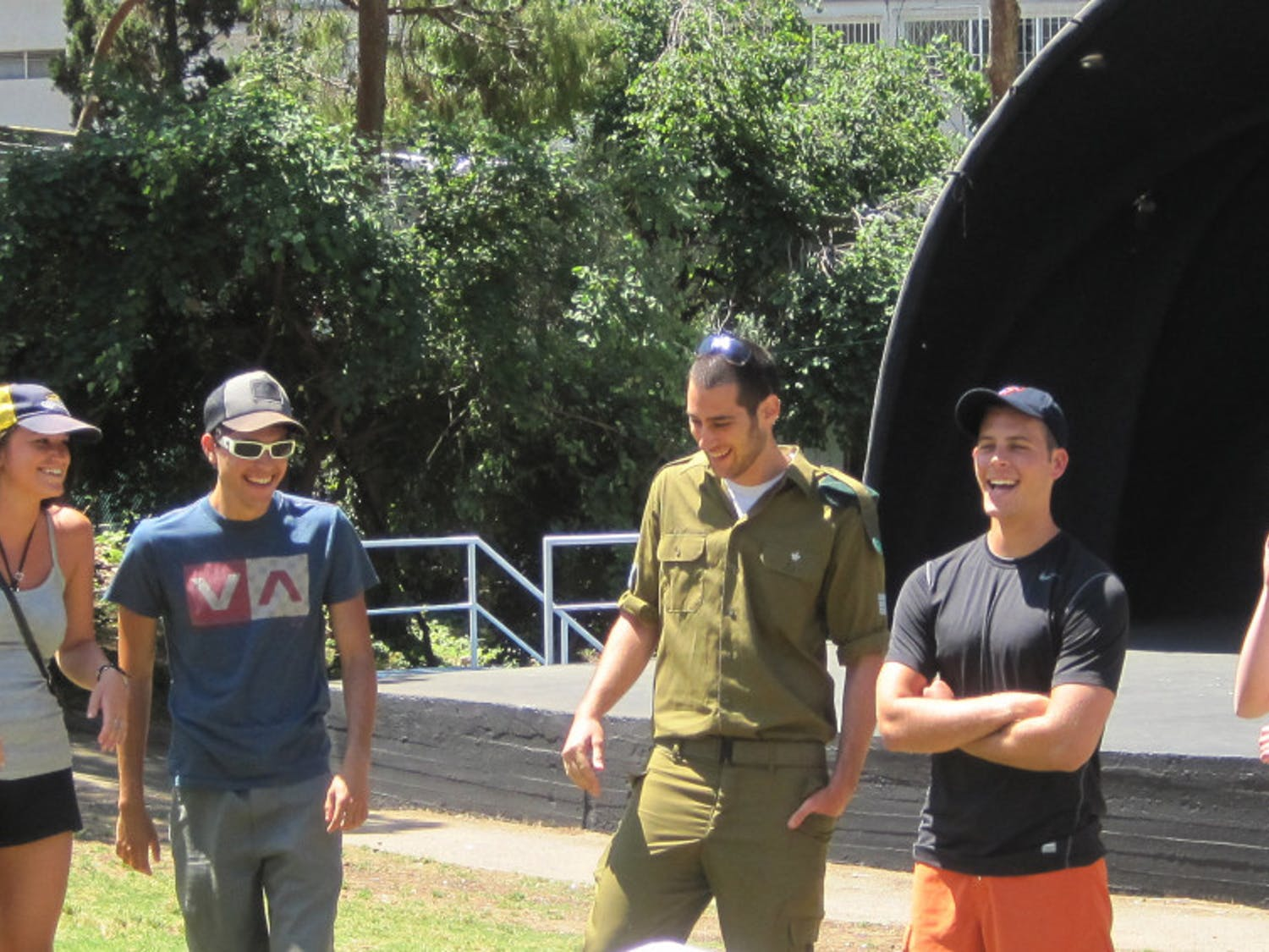 UF students on a Hillel Birthright trip meet the Israeli soldier who will accompany them during their trip.