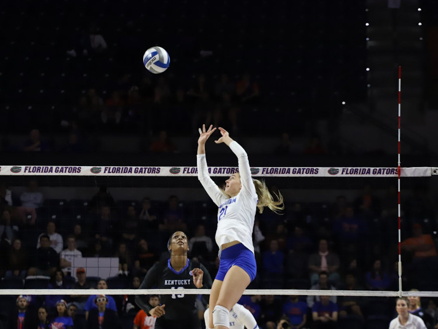 Now-junior Marlie Monserez sets for the Gators at last year's home match versus Kentucky. The setter and her teammates will be back in the O'Connell Center Friday for the first home match of the 2020 season.
