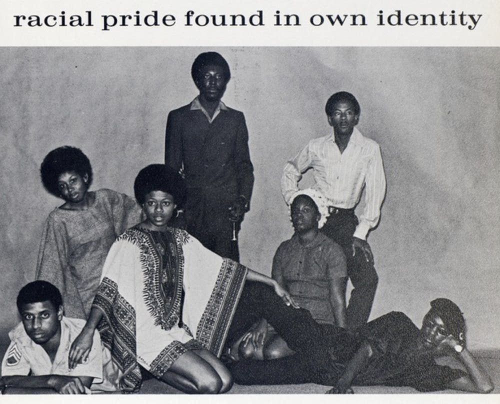 <p>Black UF students pose for a photo in the 1970 university yearbook. The UF African American Studies program was founded in 1969.</p>