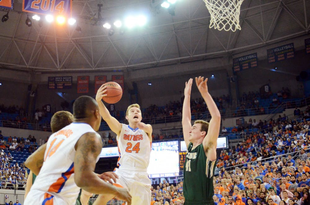 <p>Freshman Zach Hodskins goes up for a layup during Florida's 68-45 win against William &amp; Mary on Friday in the O'Connell Center.</p>