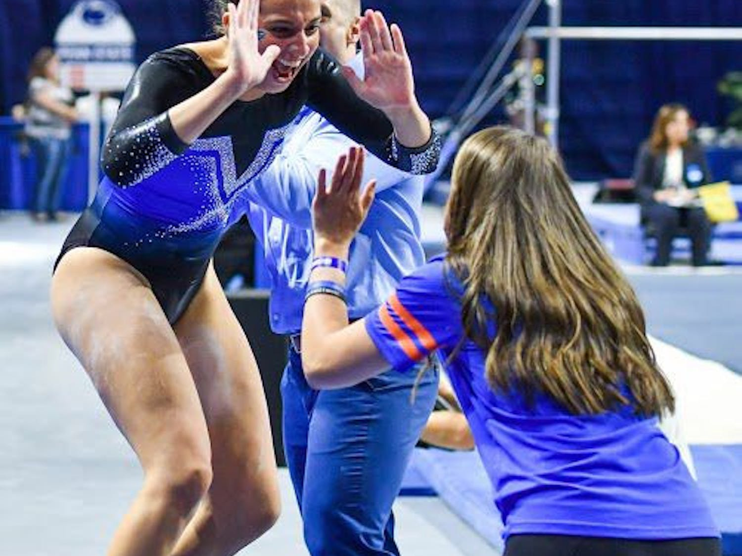 UF gymnast Rachel Slocum celebrates during the NCAA Gainesville Regional on April 1, 2017, in the O'Connell Center.