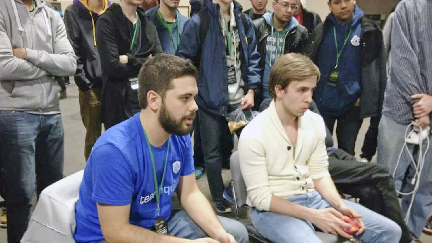 "Juan ""Hungrybox"" Debiedma plays against Mustafa ""Ice"" Akcakaya, from Germany, at Apex 2015. Debiedma placed fifth out of about 1,000 entrants."