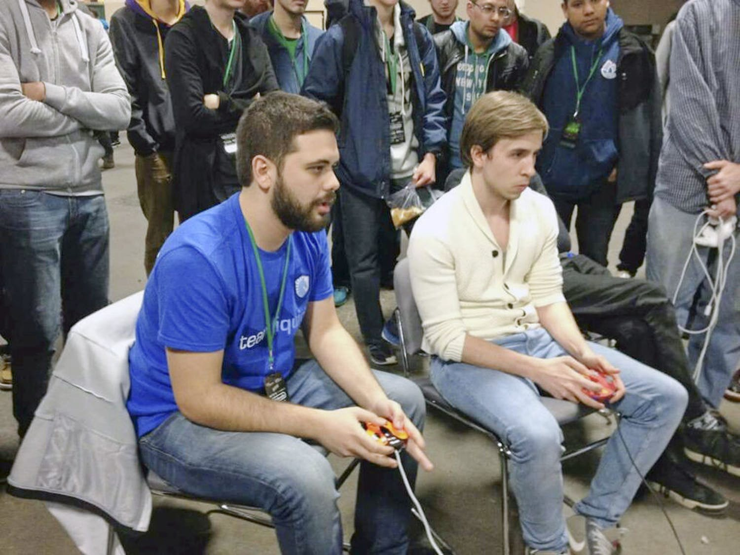 """Juan """"Hungrybox"""" Debiedma plays against Mustafa """"Ice"""" Akcakaya, from Germany, at Apex 2015. Debiedma placed fifth out of about 1,000 entrants."""