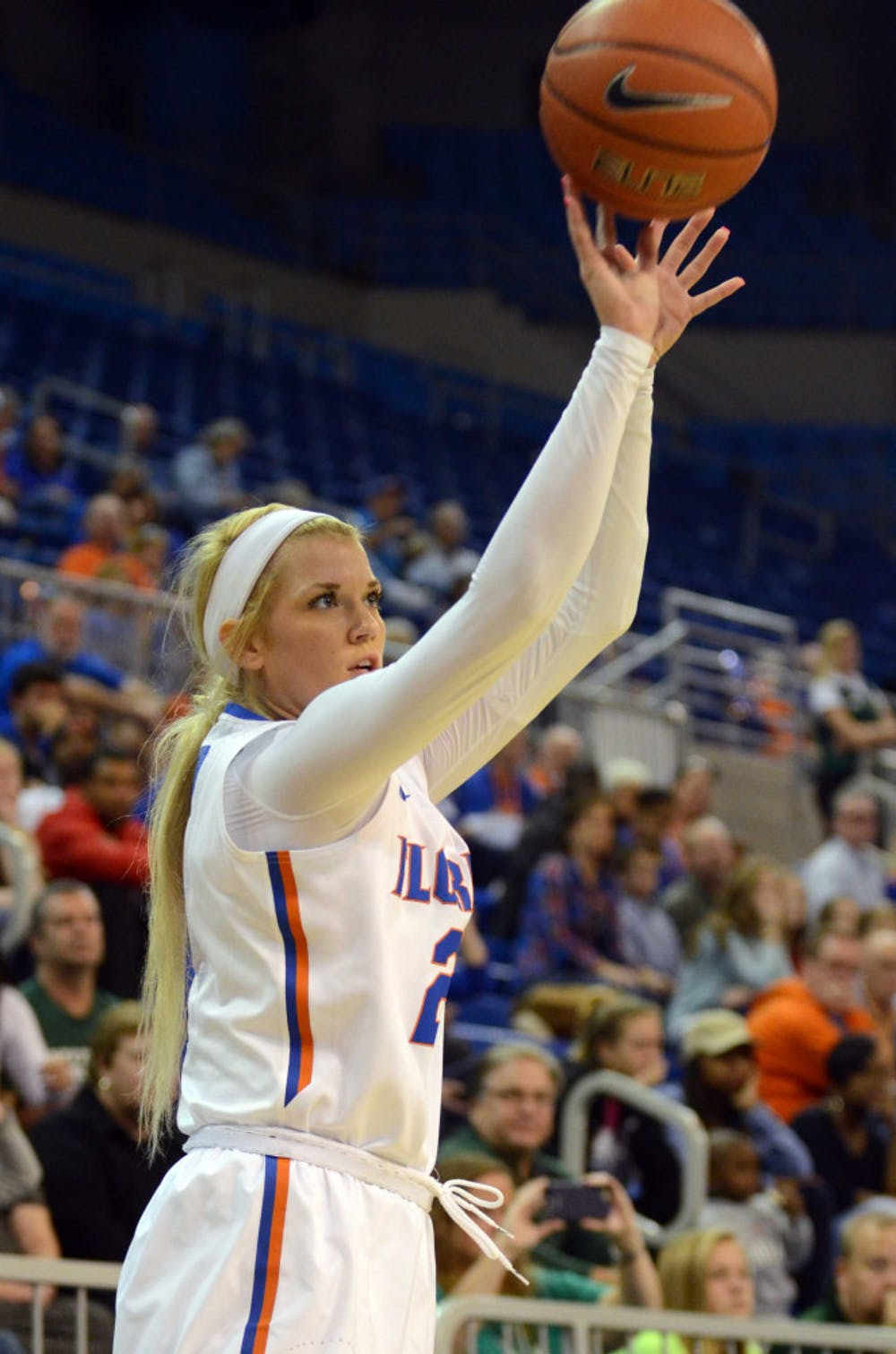 <p>Brooke Copeland attempts a three-point shot during Florida's win against Stetson.</p>