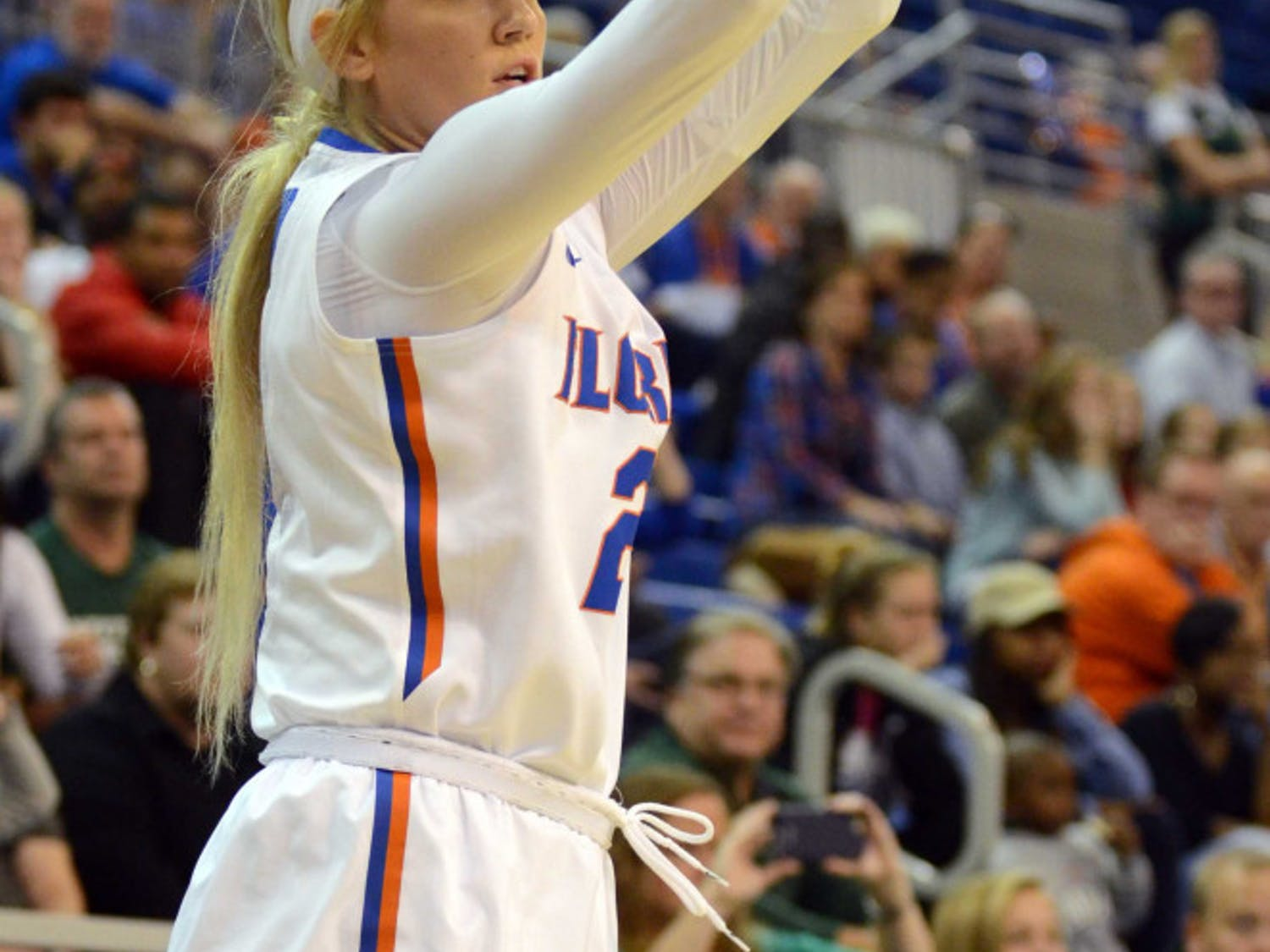 Brooke Copeland attempts a three-point shot during Florida's win against Stetson.