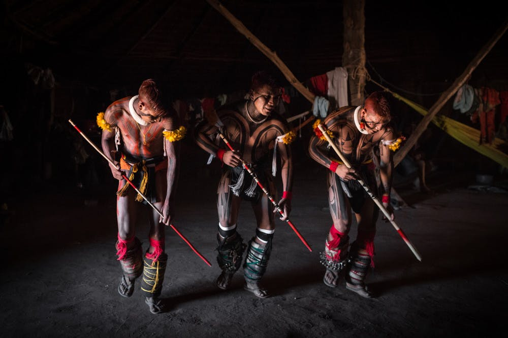 <p>A traditional dance performed by the indigenous Kuikuro people in the Brazilian Amazon, which Michael Heckenberger has worked with for the past 27 years. He designed Amazon Hope to help save these people and the rainforest they live in.</p>