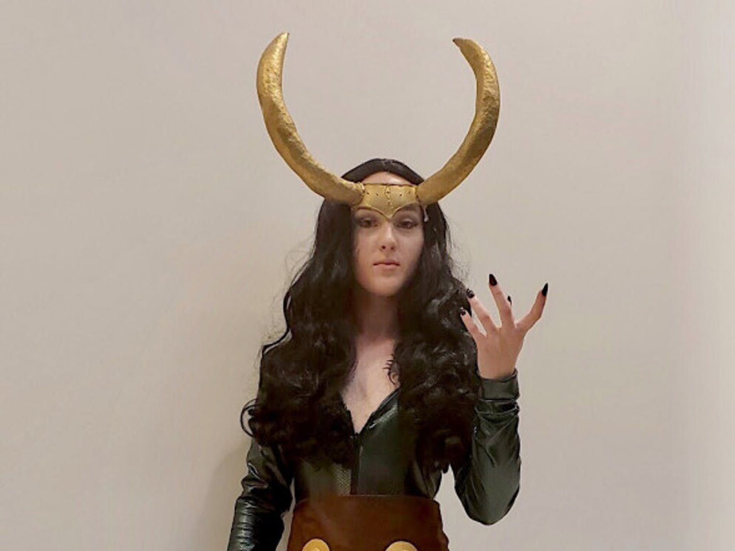 "Lady LokiKati Ankrom, 21, resident of Leesburg, Florida, attended SwampCon as a genderbent Thor character, Lady Loki. Gender bending is when someone cosplays a character as its opposite gender.Ankrom has been improving the costume for the past four years. She first cosplayed Lady Loki when she was 18 and felt very proud when she finished the costume in nine months.Most of the cosplay is made out of a latex bodysuit and is not breathable, according to Ankrom.""These horns I've had for like three years,"" she said. ""I refuse to get rid of them.""She advises first-time cosplayers to not make the costume harder than it needs to be.""You will get better eventually,"" she said. ""Just start at the beginning and work your way up."""