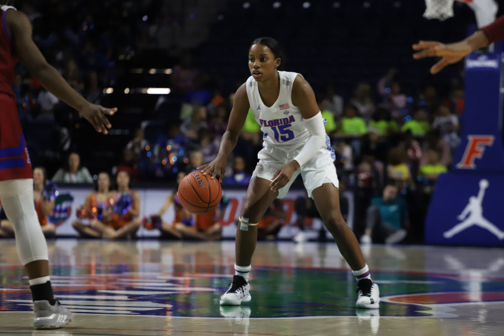 <p>Sophomore Nina Rickards had nine points, eight rebounds and two assists in the Gators first game of the 2020-2021 season.</p>
