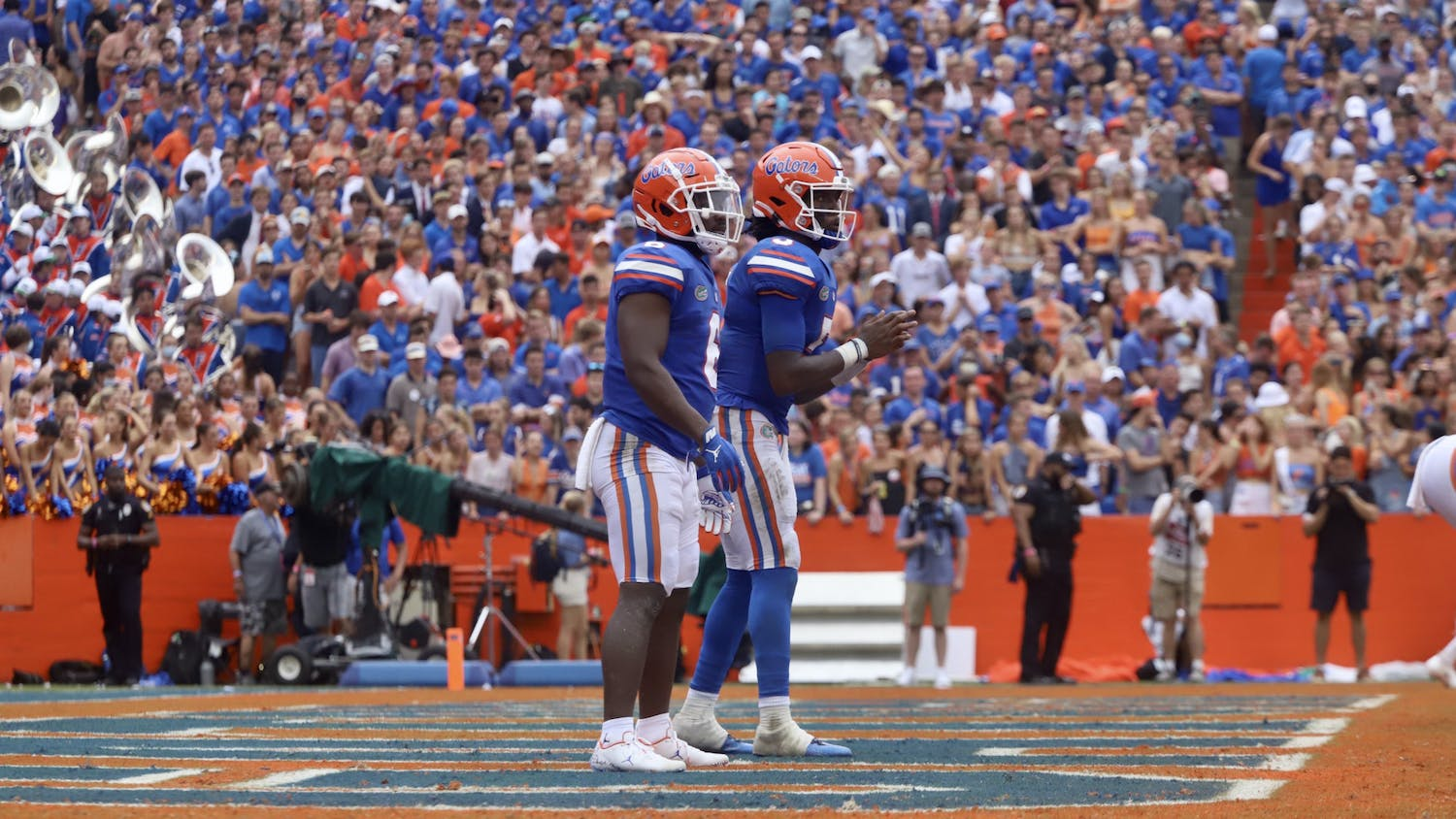 Florida's Emory Jones and Nay'Quan Wright stand in the backfield before they began a 99-yard drive against Alabama during a 31-29 loss on Sept. 18