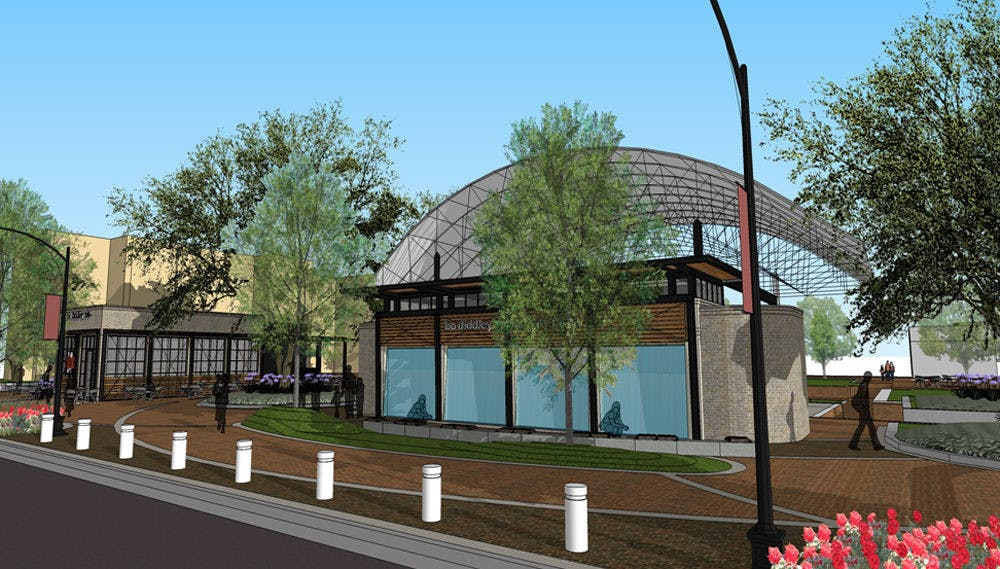 "<p class=""p1"">Above is a rendering of the Bo Diddley Community Plaza's planned renovation, which will include a new cafe, information kiosk, green room and water wall feature. It will close for renovations in March.&nbsp;</p>"