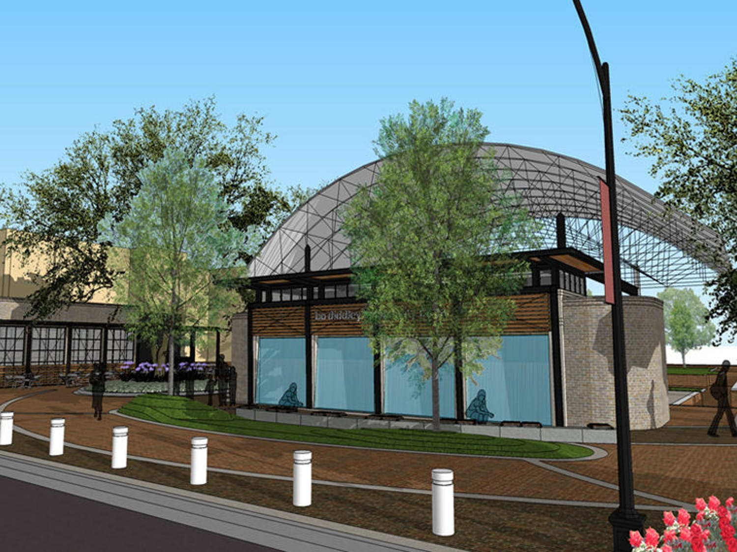 Above is a rendering of the Bo Diddley Community Plaza's planned renovation, which will include a new cafe, information kiosk, green room and water wall feature. It will close for renovations in March.