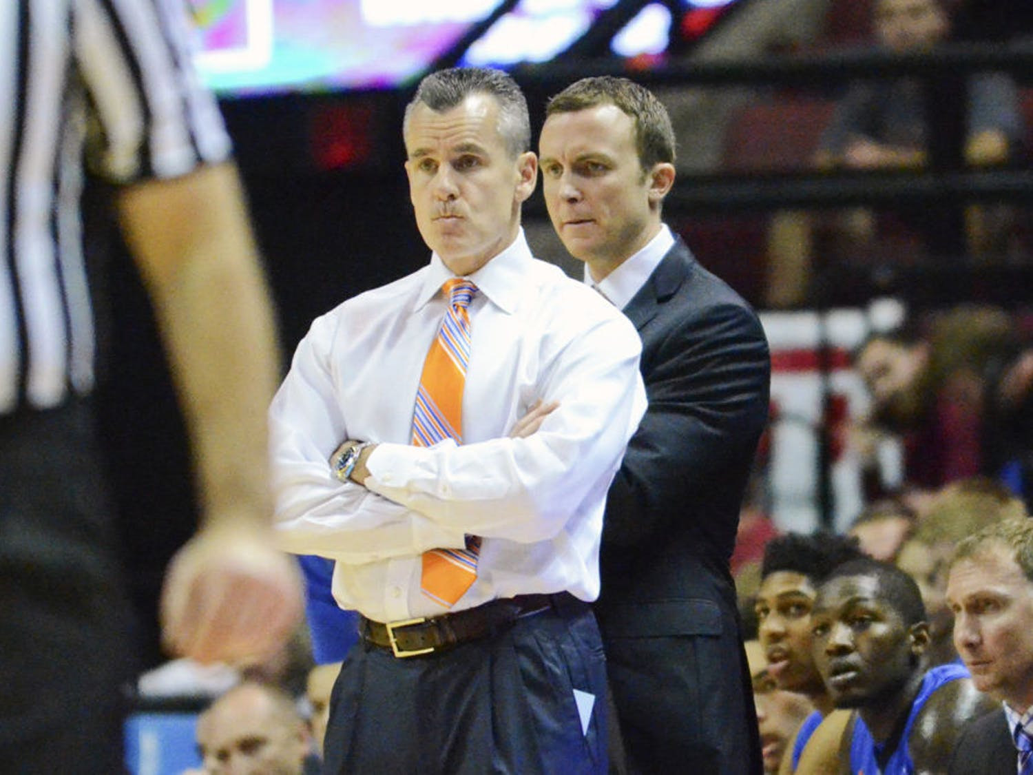 Billy Donovan looks down the court during Florida's 65-63 loss to Florida State on Dec. 30 in Tallahassee.