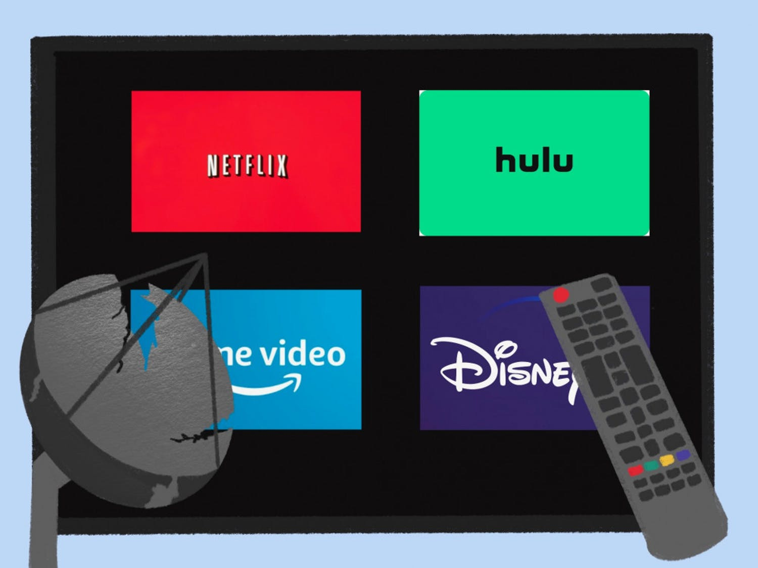 Graphic of streaming services andsatellite.