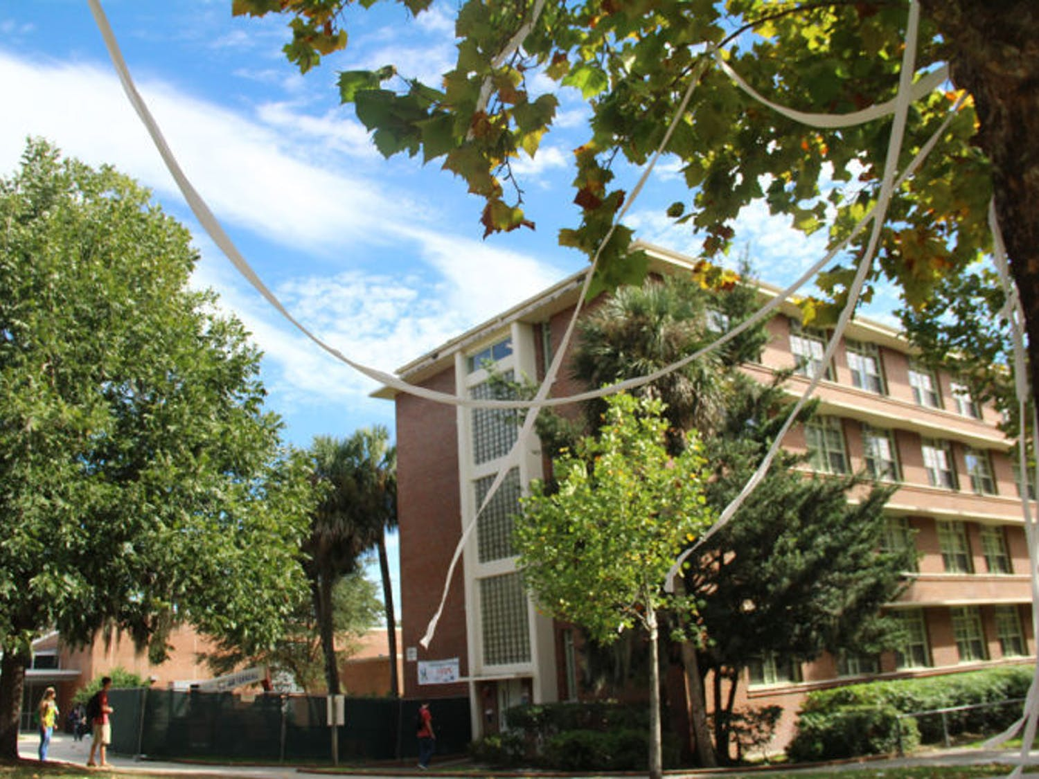 Toilet paper hangs from trees in front of Broward Hall on Wednesday. The incident followed pranks pulled in the residence hall earlier this semester that led to security cameras being installed.
