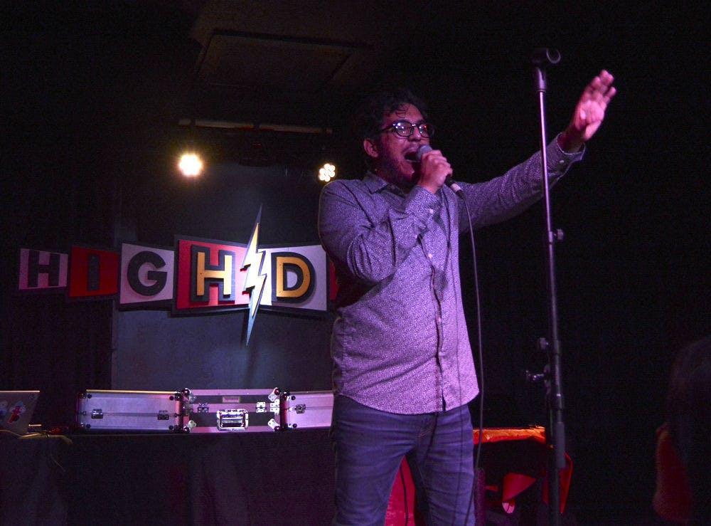<p>Hugo Sanchez, a 28-year-old Gainesville-based rapper, performs for a crowd of about 150 at the High Dive as the opening act for New Orleans rapper Curren$y Thursday night.</p>